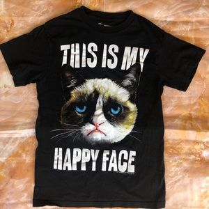 Grumpy Cat This Is My Happy Face Cotton Shirt